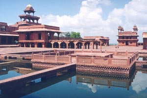 Fatehpur Sikri is about 37 kms from Agra and is built in Red Sandstone during the second half of the 16th century by the Emperor Akbar.